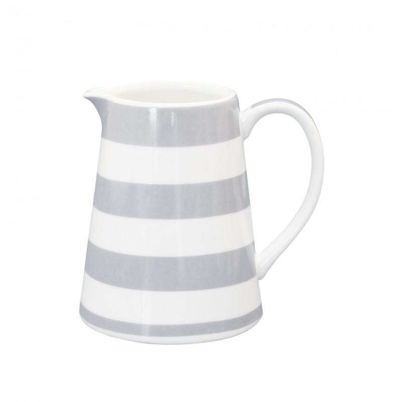 Krasilnikoff Milchkännchen aus Porzellan Streifen Muster hellgrau weiß