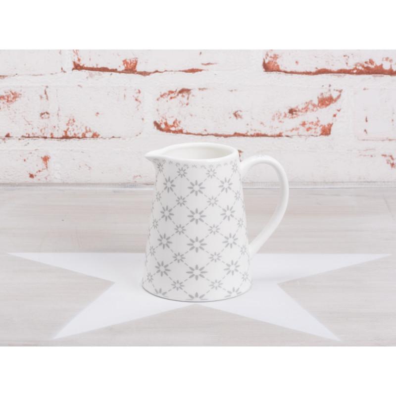 Krasilnikoff Milchkännchen Blumen hellgrau weiß grau Porzellan Geschirr Happy Creamer Diagonal Flowers