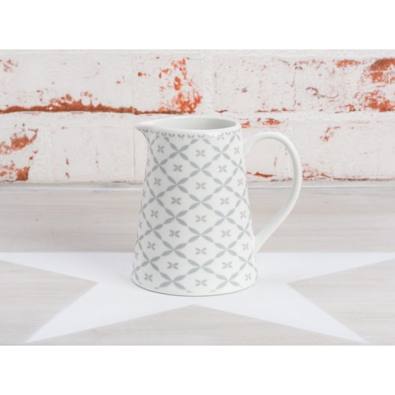 Krasilnikoff Milchkännchen Diagonal grau Sahnekännchen aus Porzellan weiß mit Muster hellgrau