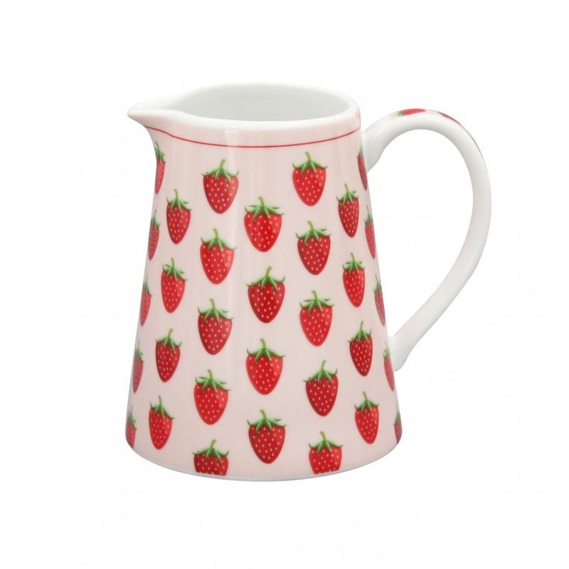 Krasilnikoff Milchkännchen Erdbeeren rosa mit roten Erdbeeren aus Porzellan Geschirr Happy Creamer