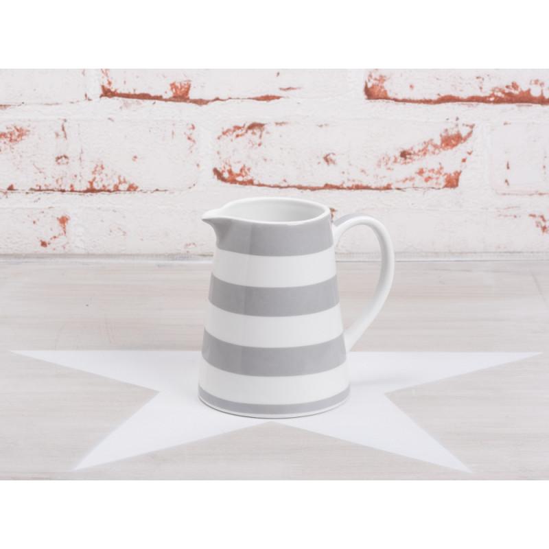 Krasilnikoff Milchkännchen Streifen hellgrau weiß gestreift grau Porzellan Geschirr Happy Creamer New Stripes