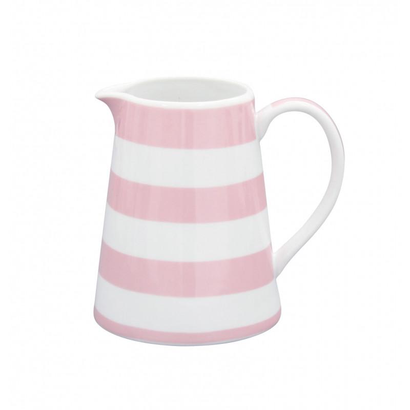 Krasilnikoff Milchkännchen Streifen rosa Happy Creamer Porzellan Geschirr gestreift pink weiß