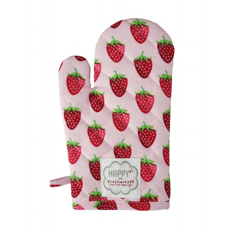 Krasilnikoff Ofenhandschuh Erdbeeren rosa aus Baumwolle pink mit rotem Erdbeer Motiv