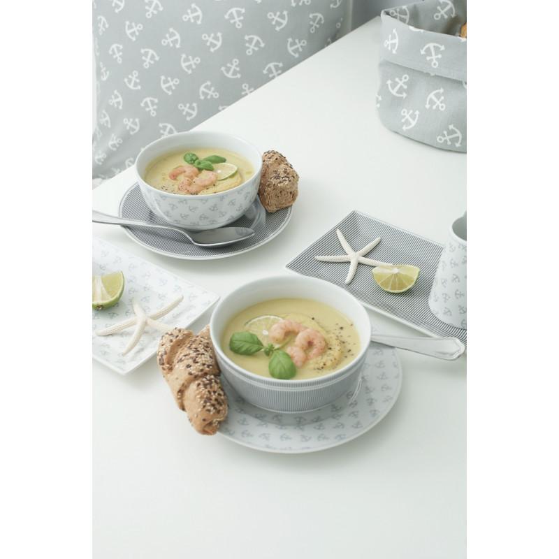 Krasilnikoff Schüsseln Schale Teller Nadelstreifen grau und mit Ankern klein Porzellan Suppe mit Garnele