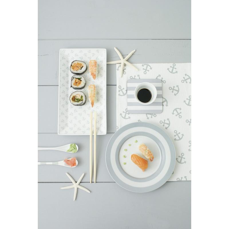 Krasilnikoff Tablett Geschirrtuch Anker klein Teller und Untersetzer grau gestreift Sushi Platte