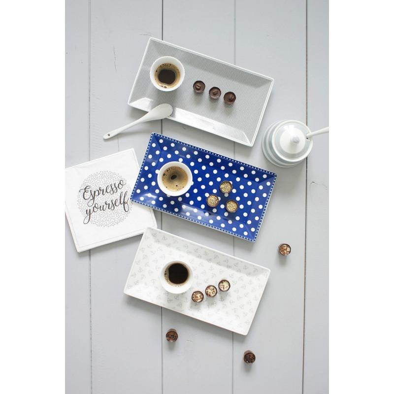 Krasilnikoff Tablett Kuchenteller Punkte blau Nadelstreifen dunkelgrau und Anker klein grau mit Espressotassen