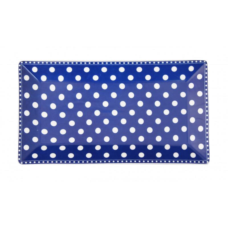 Krasilnikoff Tablett Teller Punkte blau weiß Porzellan Kuchenteller eckig 14x25 cm TRAY172