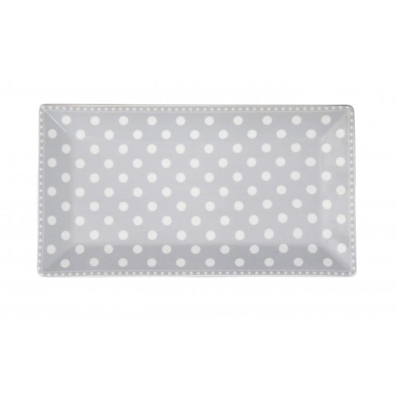Krasilnikoff Tablett Teller Punkte grau weiß Porzellan Kuchenteller eckig 14x25 cm TRAY158