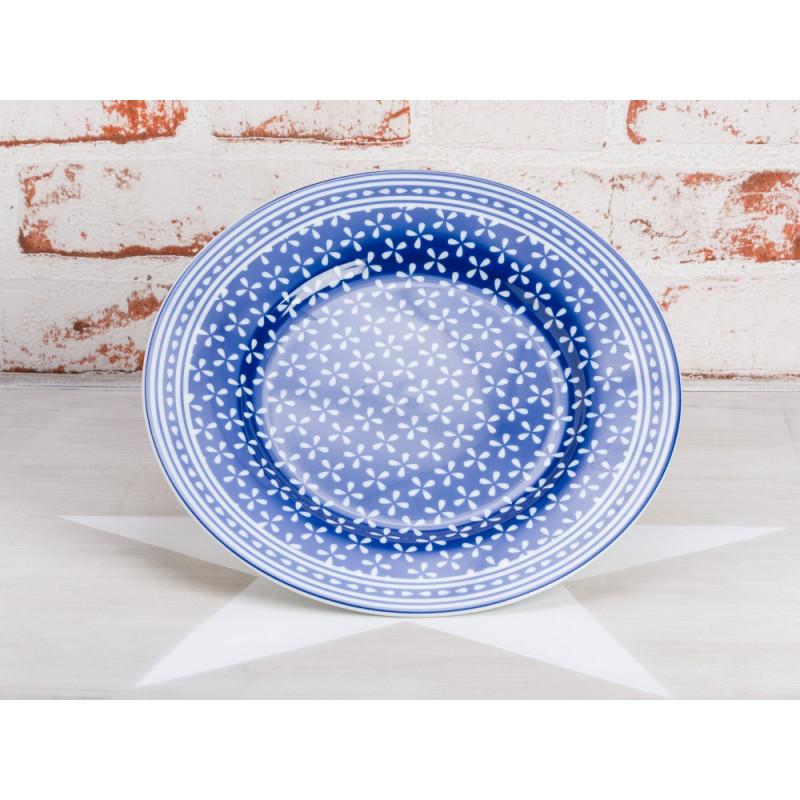 Krasilnikoff Teller Daisy blau Kuchenteller dunkelblau mit Muster weiß Krasilnikoff Geschirr