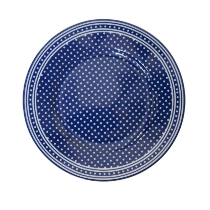 Krasilnikoff Teller dunkelblau mit weißen Punkten Kuchenteller Micro Dots