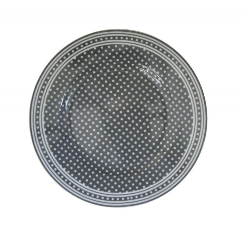 Krasilnikoff Teller dunkelgrau mit weißen Punkten Kuchenteller Micro Dots grau