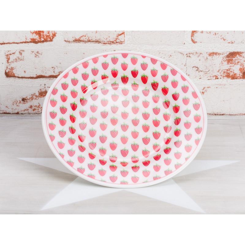 Krasilnikoff Teller Erdbeeren Kuchenteller rosa mit roten Erdbeeren