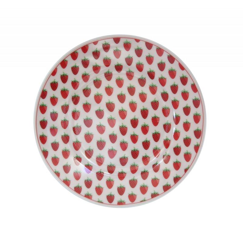Krasilnikoff Teller Erdbeeren rosa rot Kuchenteller