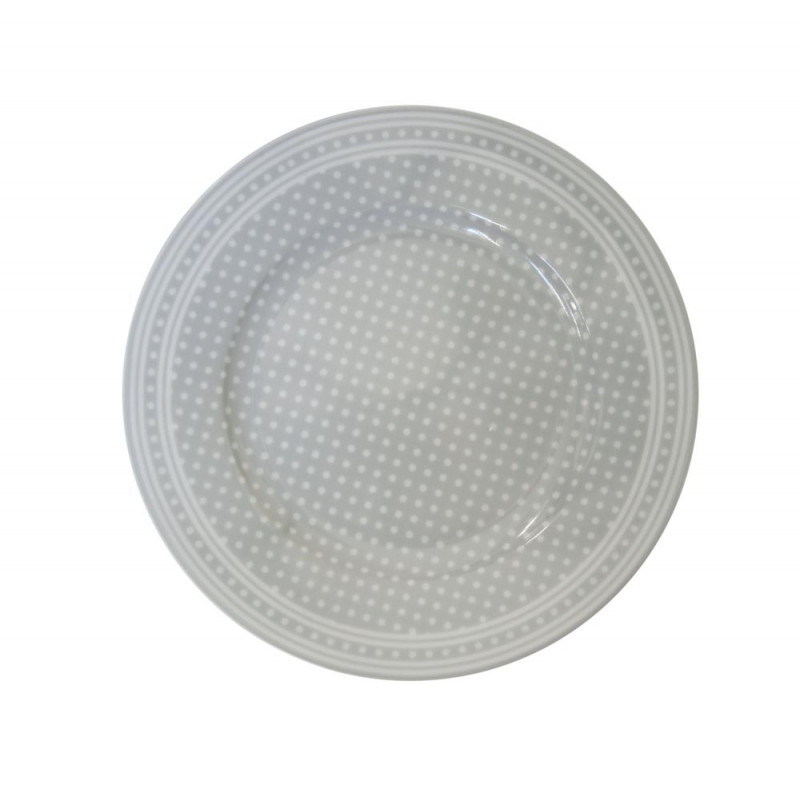 Krasilnikoff Teller hellgrau mit weißen Punkten Kuchenteller Micro Dots grau