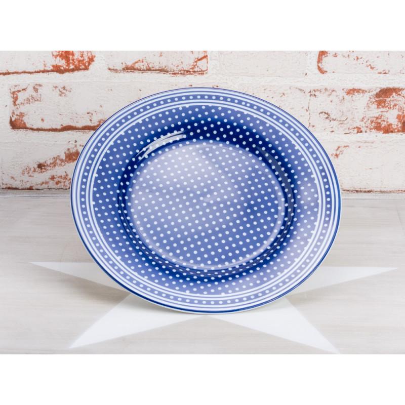 Krasilnikoff Teller Punkte blau Kuchenteller dunkelblau mit weißen Punkten Krasilnikoff Geschirr Micro Dots