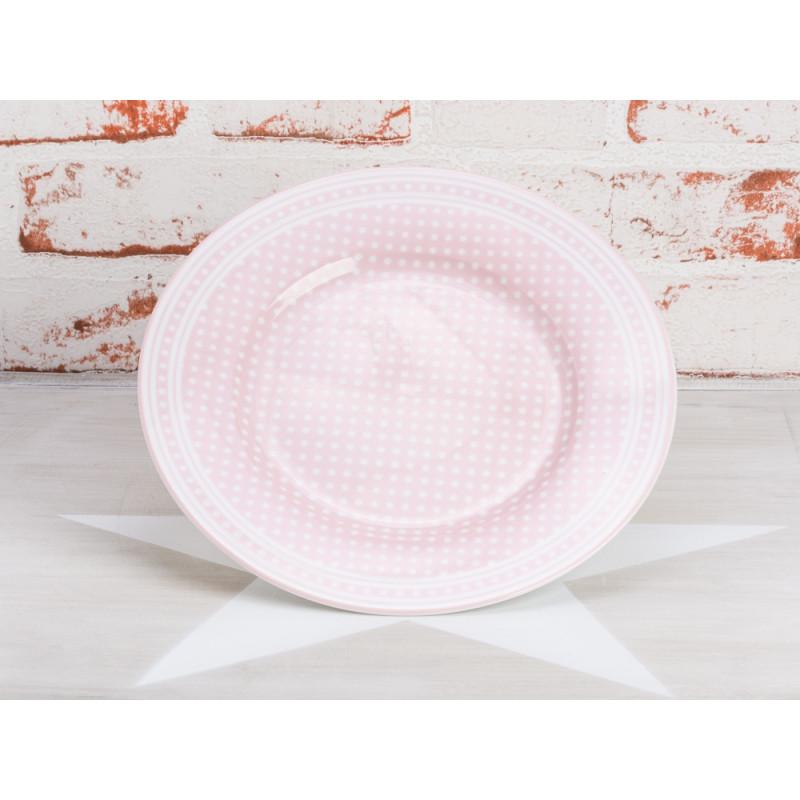 Krasilnikoff Teller Punkte Rosa Kuchenteller pink mit weißen Punkten Krasilnikoff Geschirr Micro Dots
