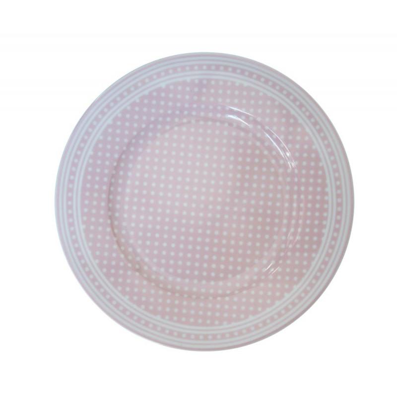 Krasilnikoff Teller rosa pink mit weißen Punkten Kuchenteller Micro Dots