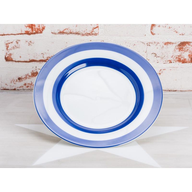 Krasilnikoff Teller Streifen blau Kuchenteller weiß mit dunkelblauen Streifen Krasilnikoff Geschirr Maritim
