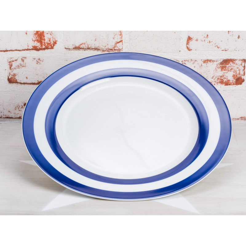 Krasilnikoff Teller Streifen dunkelblau Essteller weiß mit blauen Streifen Krasilnikoff Geschirr Maritim
