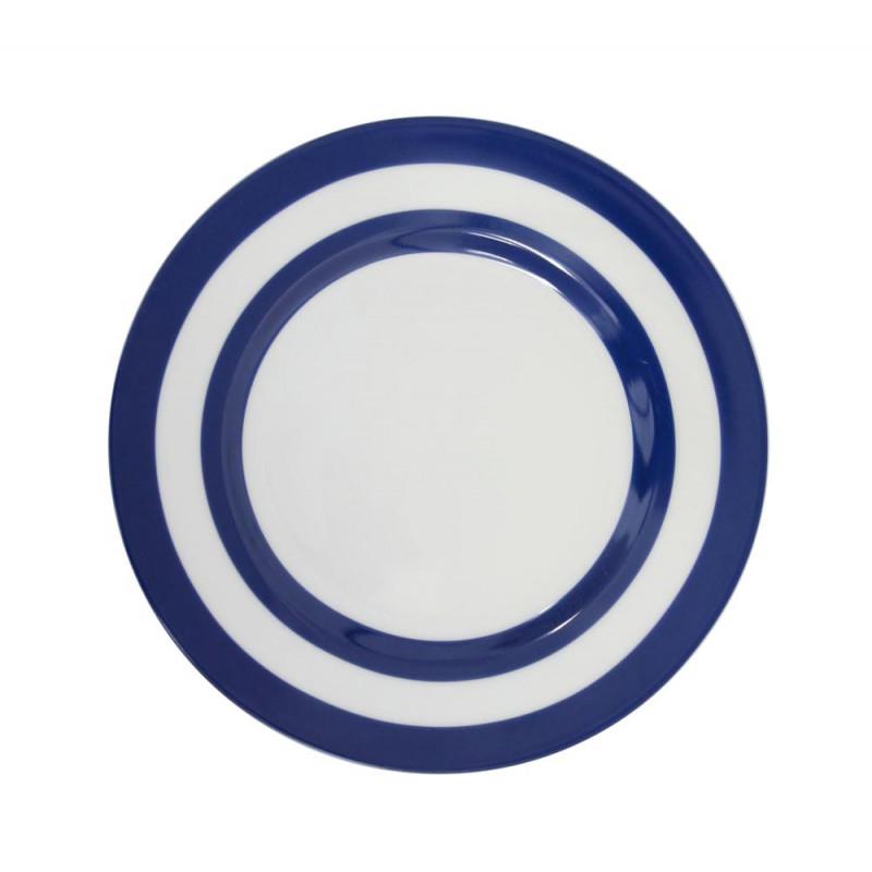 Krasilnikoff Teller Streifen dunkelblau weiß Kuchenteller