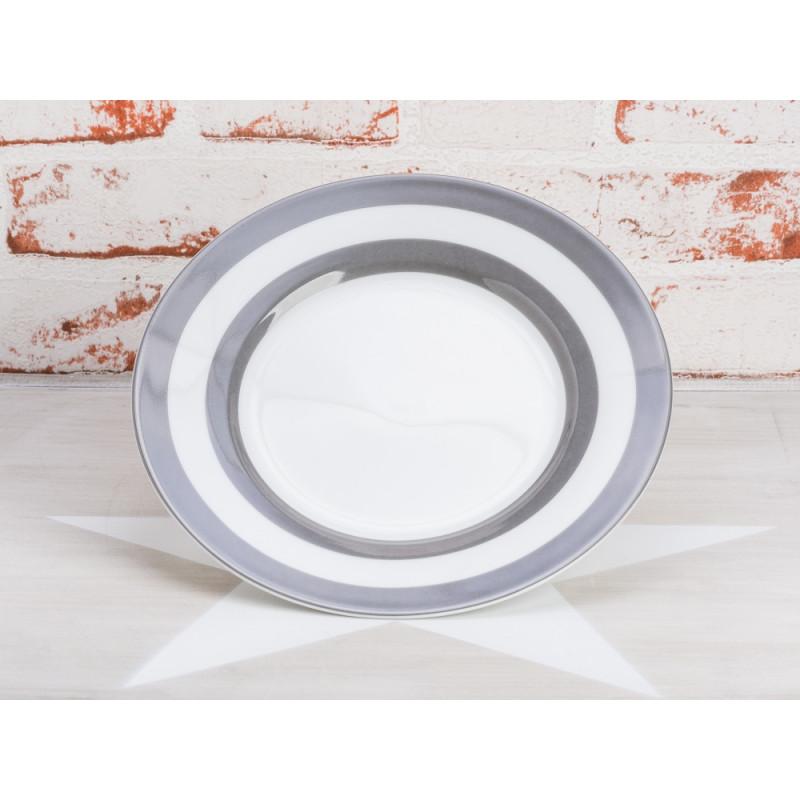 Krasilnikoff Teller Streifen dunkelgrau Kuchenteller weiß mit grauen Streifen Krasilnikoff Geschirr