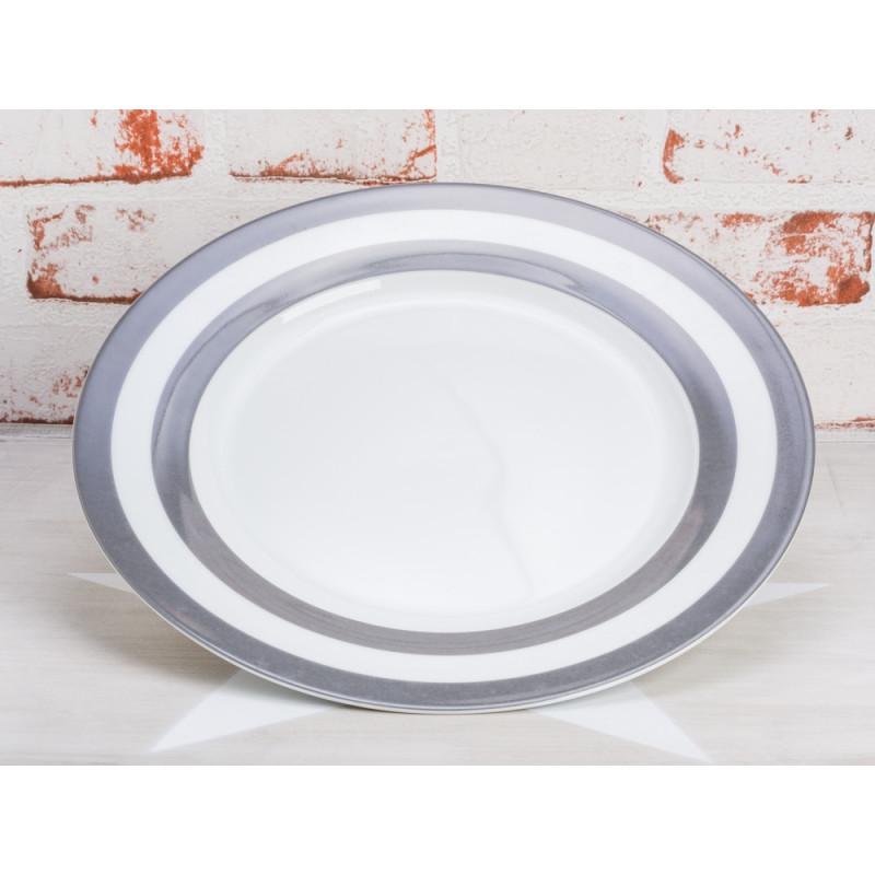 Krasilnikoff Teller Streifen grau Essteller weiß mit dunkelgrauen Streifen Krasilnikoff Geschirr