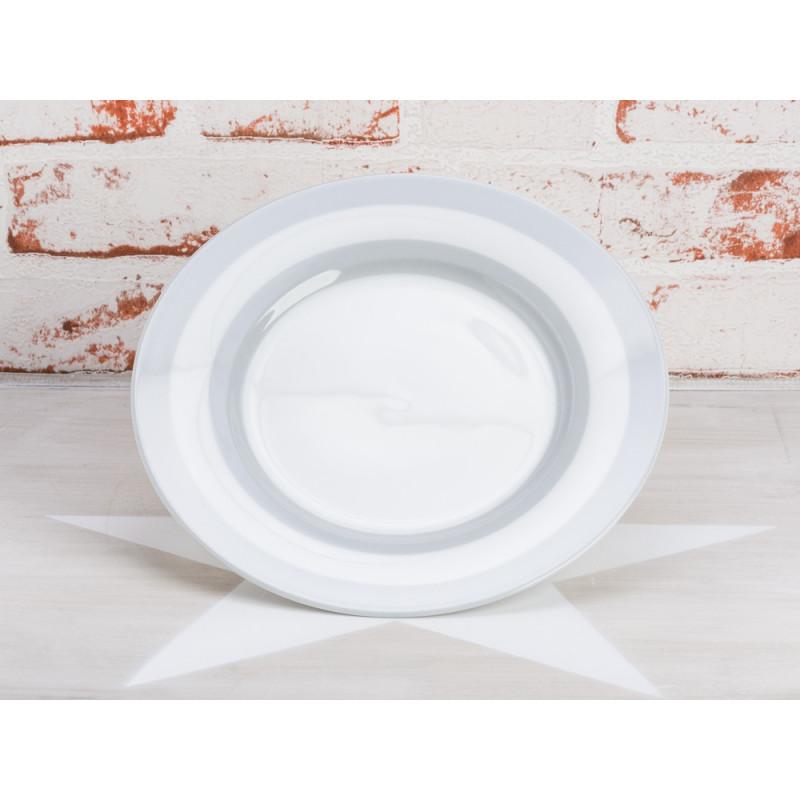 Krasilnikoff Teller Streifen grau Kuchenteller weiß mit hellgrauen Streifen Krasilnikoff Geschirr