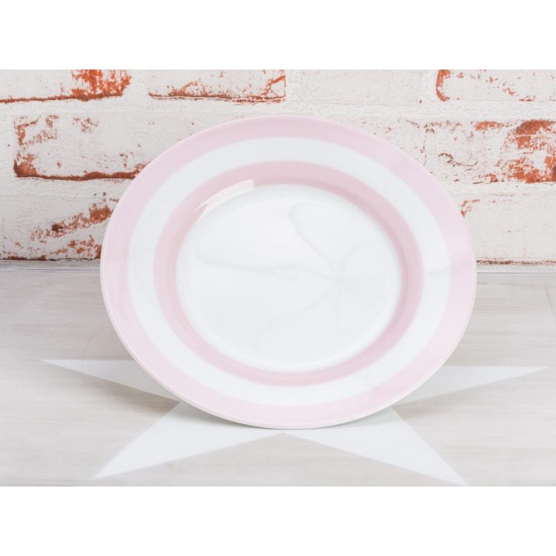 Krasilnikoff Teller Streifen rosa Kuchenteller weiß mit pink farbigen Streifen Krasilnikoff Geschirr