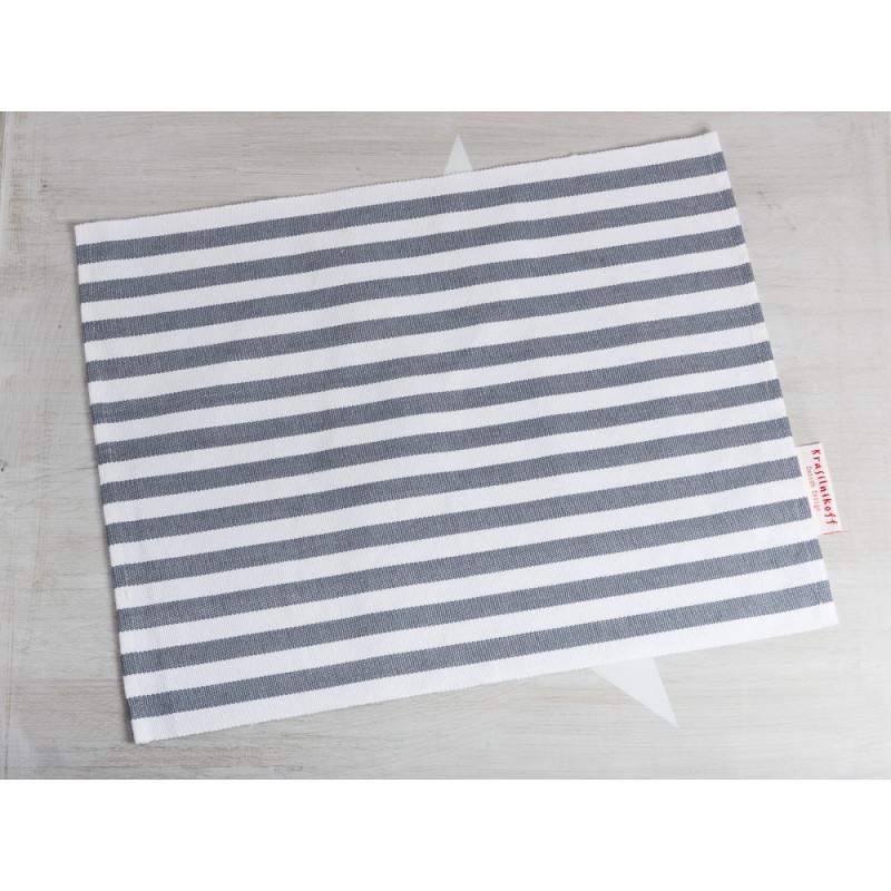 Krasilnikoff Tischset Streifen Dunkelgrau Platzset aus Baumwolle grau weiß gestreift