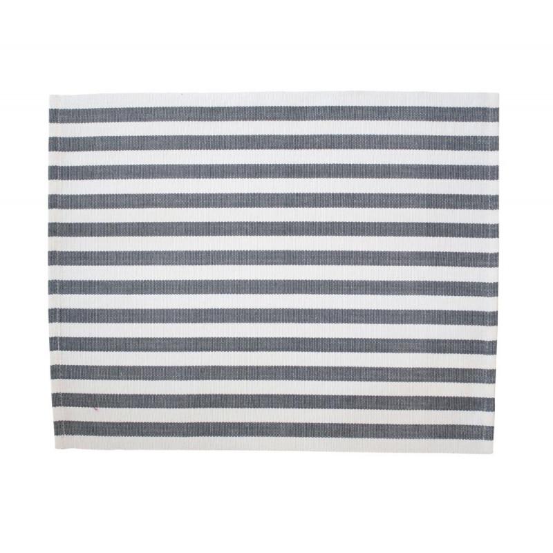 Krasilnikoff Tischset Streifen dunkelgrau weiß