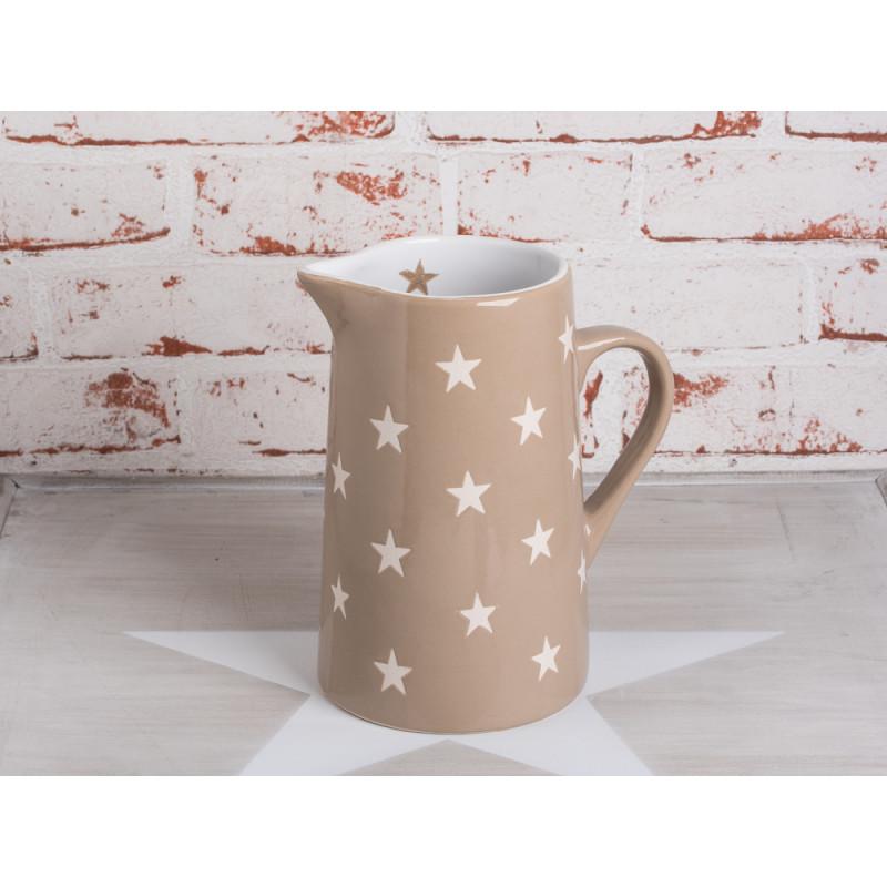 Krug Brightest Star taupe mit weissen Sternen aus Keramik von Krasilnikoff