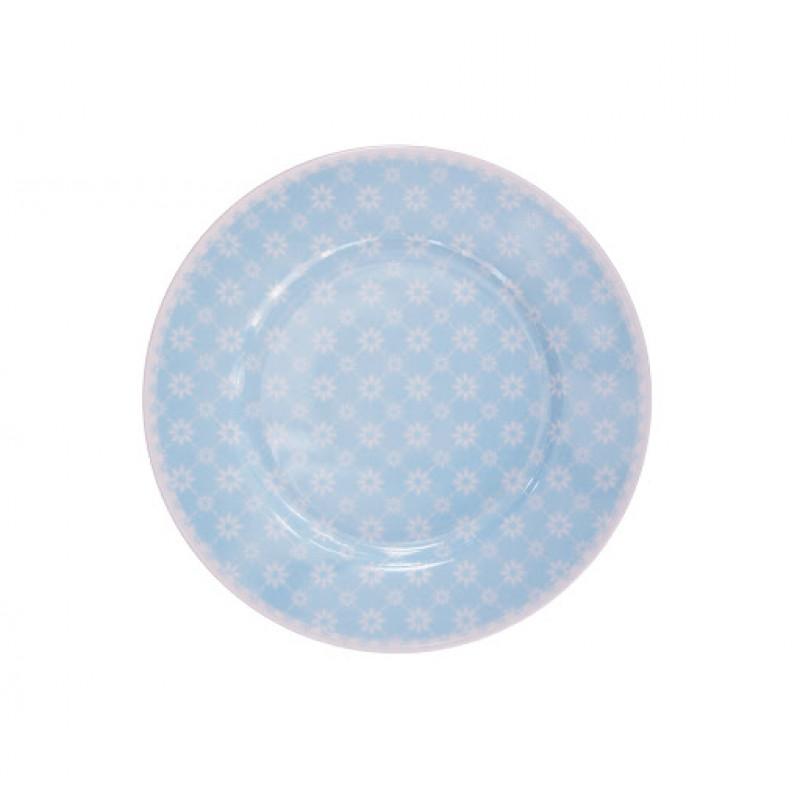 Kuchenteller Blume Diagonal hellblau Blumen weiß Krasilnikoff Frühstücksteller blau
