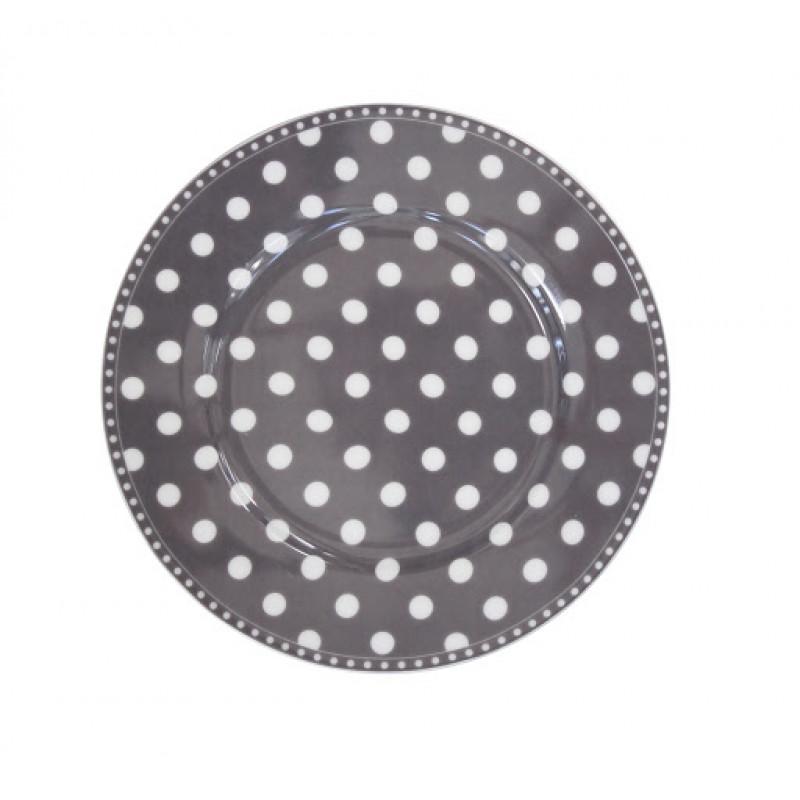 Kuchenteller Punkte dunkelgrau weiß Krasilnikoff Frühstücksteller