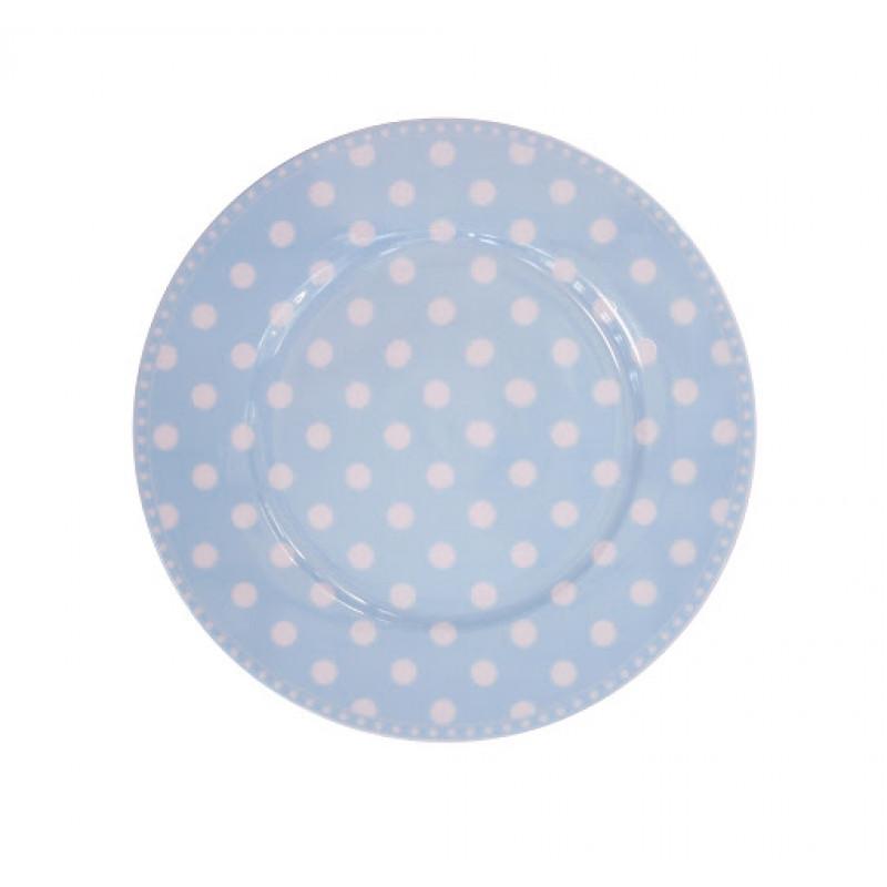 Kuchenteller Punkte hellblau blau weiß Krasilnikoff Frühstücksteller
