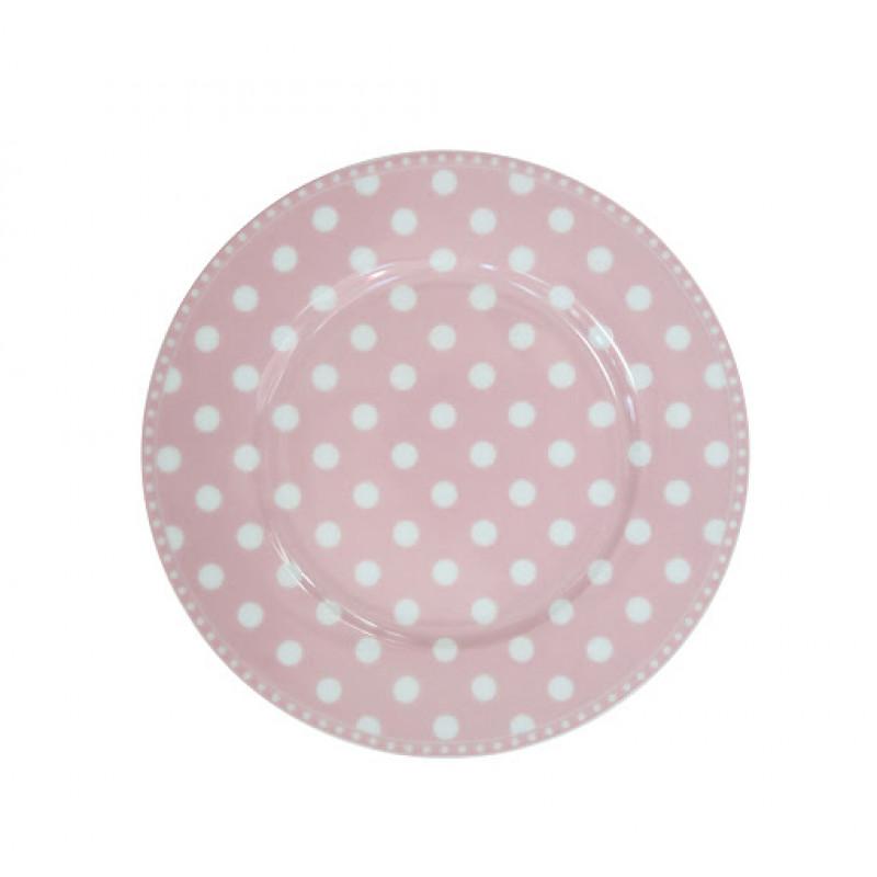 Kuchenteller Punkte rosa pink weiß Krasilnikoff Frühstücksteller