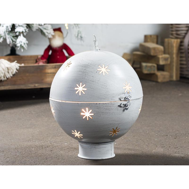 Kugel GLORY Beleuchtung LED Licht 30 cm groß Metall Grau Weiß Weihnachtsdeko Hänger mit Kette Weihnachtsdekoration
