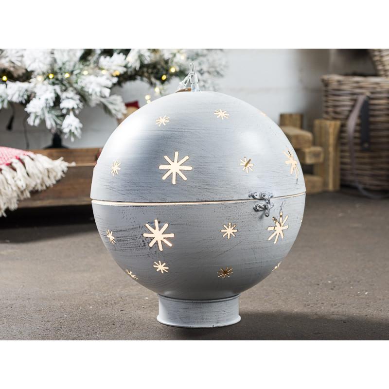 Kugel GLORY Beleuchtung LED Licht 40 cm groß Metall Grau Weiß Weihnachtsdeko Hänger mit Kette Weihnachtsdekoration