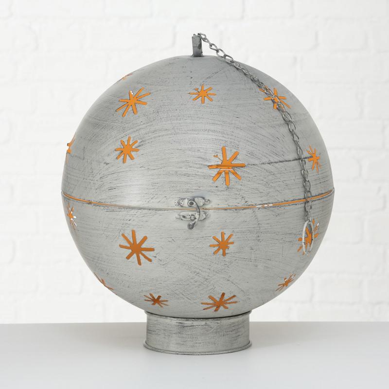 Kugel GLORY groß mit LED Licht 30 cm Metall Hänger mit Kette Deko Aufsteller Weihnachtsdekoration