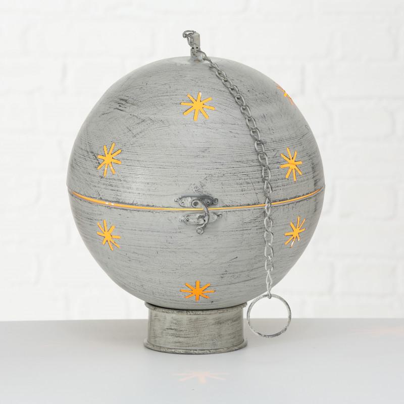 Kugel GLORY mit LED Licht 30 cm Metall Hänger Kette Deko Aufsteller Weihnachten