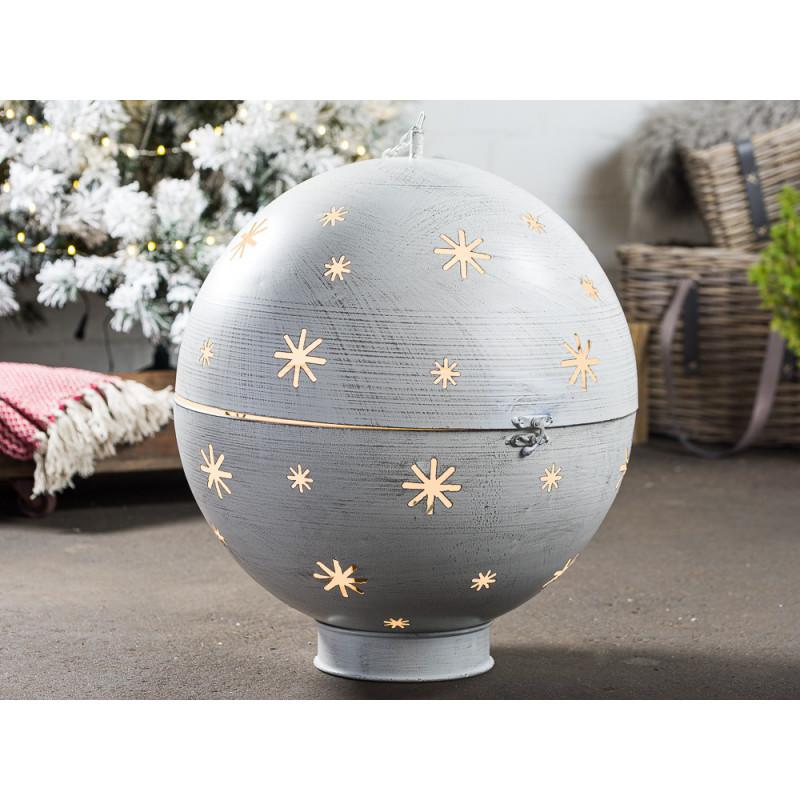 Kugel GLORY XL Beleuchtung LED Licht 50 cm groß Metall Grau Weiß Weihnachtsdeko Hänger mit Kette Weihnachtsdekoration
