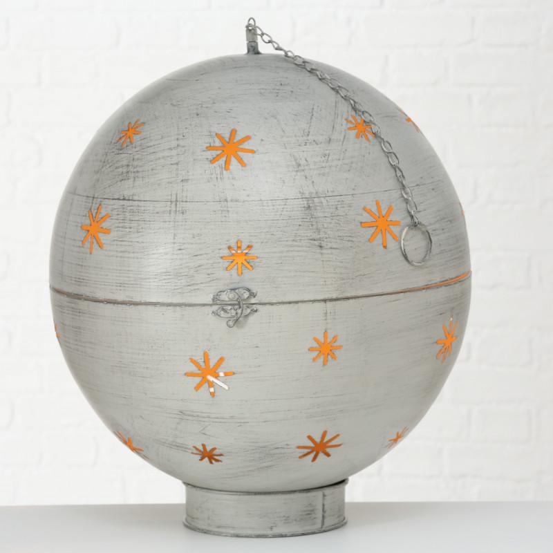 Kugel GLORY XL Beleuchtung LED Licht 50 cm groß Metall Grau Weihnachtsdeko Hänger mit Kette Deko Aufsteller Weihnachtsdekoration