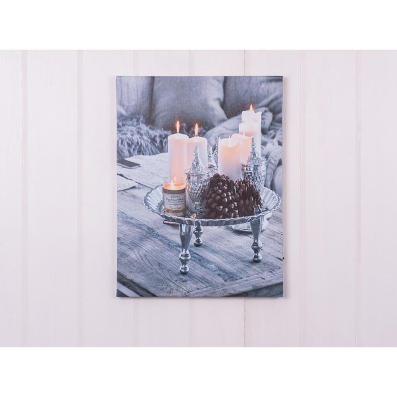 LED Bild Windlichter und Kerzen beleuchtet auf Tisch