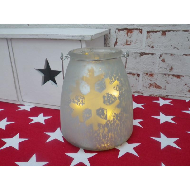 led windlicht schneeflocke satiniertes glas mit led lichterkette. Black Bedroom Furniture Sets. Home Design Ideas