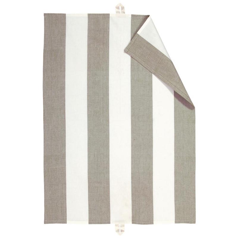 Linum Geschirrtuch Ravioli Taupe Weiss Gestreift Baumwoll Geschirrhandtuch 50x70 cm mit Blockstreifen Produkt Code 13RAV05700G14