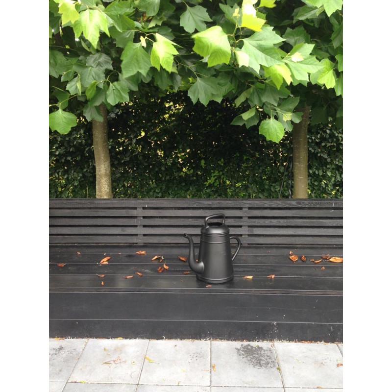 Lungo Gießkanne schwarz edle Garten Deko Kaffeekanne aus Kunststoff Inhalt 12 Liter Xala Design
