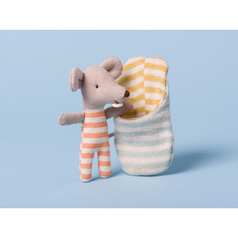 Maileg Baby Maus im orange weiß gestreiftem Dress Geschenk zur Geburt