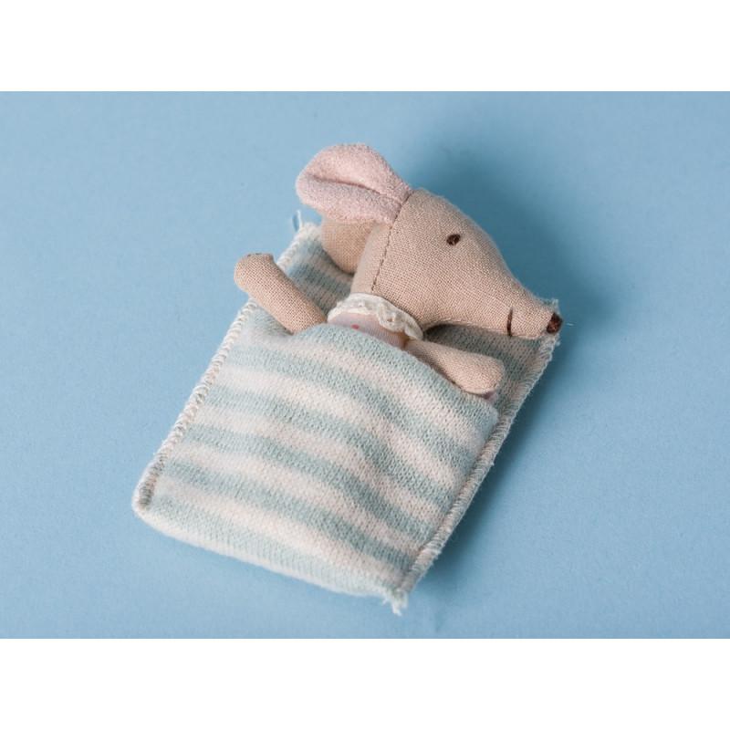 Maileg Baby Maus Sleepy/Wakey Mädchen in Box wach