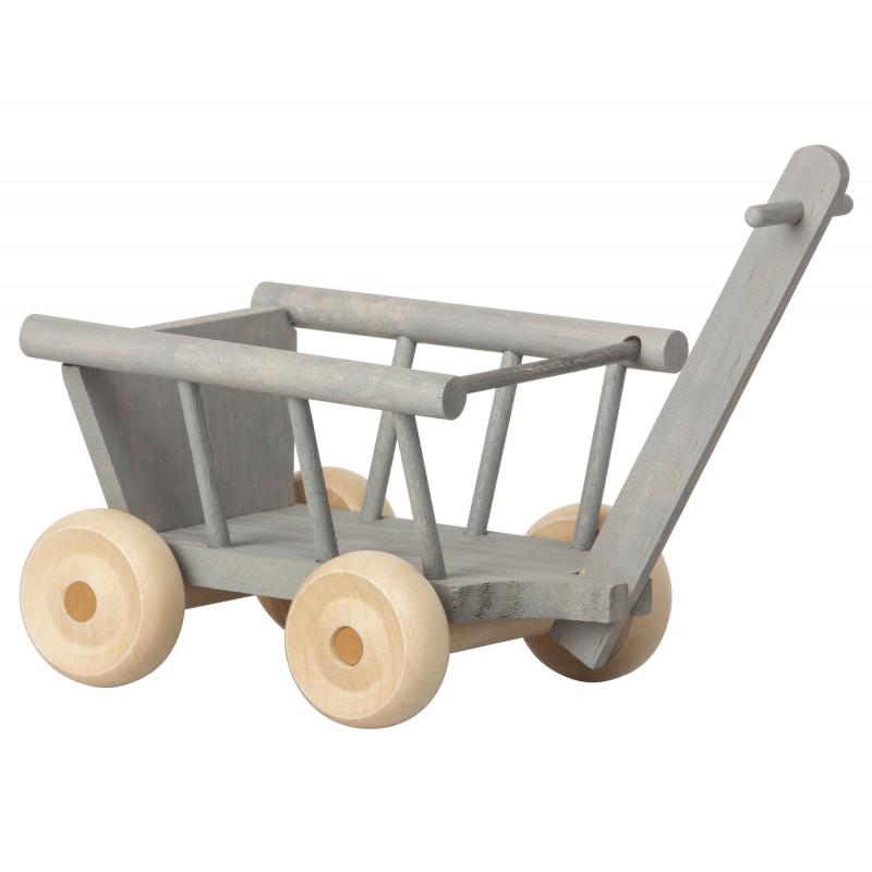 Maileg Bollerwagen Grau aus Holz mit beweglichen Rädern Wagon Micro