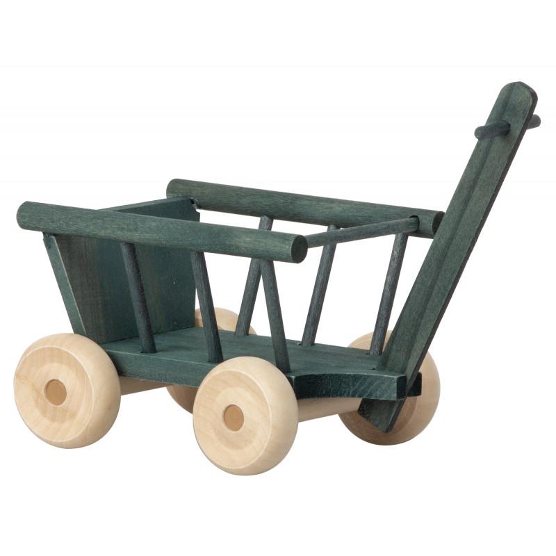 Maileg Bollerwagen Petrol aus Holz mit beweglichen Rädern Wagon Micro