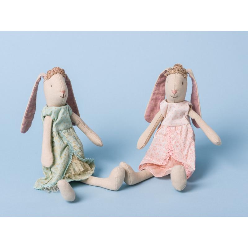 Maileg Bunny Prinzessin Mini Hase mit Schlappohren Krone mit rosa und mit grünem Kleid 21 cm groß